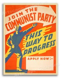 """Join the Communist Party"" 1940s Vintage Style Political Poster - 18x24"