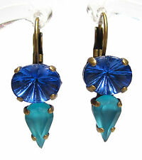 SoHo® Ohrhänger Ohrringe tropfen vintage glas türkis blau 1960´s handgemacht
