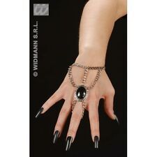 GOTHIC WRIST CHAIN W/BLACK GEM MEDALLION for Emo Goth Vampire Halloween Accessor