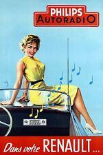 Vintage 1950s Philips Renault  Auto-Radio Tube Ad Poster 13 x 19 Giclee Print