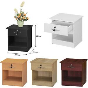Drawer Bedside Table Side Storage Unit Security Lock Simple Shelving Storage