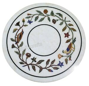 16 Inches Round Stones Coffee Table Top White Marble Side Table with Nature Art