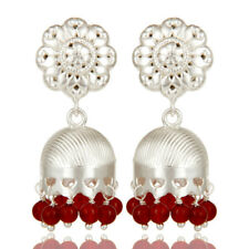 Solid Silver Plated Handmade Flower Carving Jhumka Earrings Red Onyx Jewelry