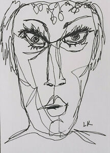 """ACEO original WOMAN in continuous line drawing pucker by Lynne Kohler 2.5x3.5"""""""