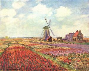 Vintage painting art claude monet  tulip fields flower canvas windmill Holland