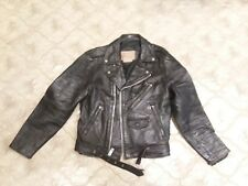Cool distressed Bermam's black leather motrocycle jacket size 36,