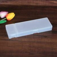 Cute Clear Transparent Plastic Pencil Case Pen Box Supplies Kids Office Sch G2L8