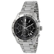 Seiko Black Dial Steel Chronograph Men's Watch SSB049