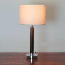Sunset Theo 1 Light Faux Leather Table Lamp With Taupe Linen Shade