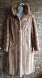 Tissavel France simulated Fur coat Beige Uk 12-14 Glamours Midi lenght coat