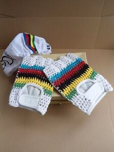 Vintage style Leather cycling gloves World champion stripes