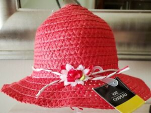 Hat Chapeau Toddler Girl's Red Wide-Brim Straw Sun Hat w/Flower Trim