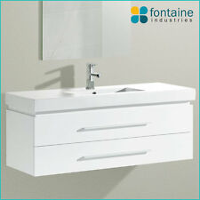 Bathroom Vanity White Wall Mounted Hung Ceramic Basin Top 1200 NEW