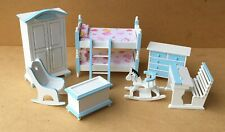1:12 Scale 7 Piece Blue & White Nursery Set Tumdee Dolls House Bedroom 900b