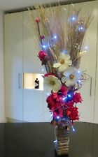Red Gold Artificial bouquet in free wood vase and lights weddings Xmas