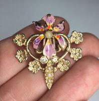 Antique Art Nouveau / Art Deco Costume Iris Pearl & Crystals Enamel Brooch Pin