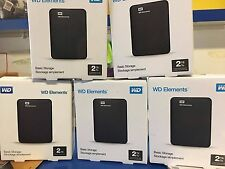 Western Digital WD Elements 2TB Portable Hard Drive Black BNIB