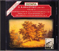 KABALEVSKY Piano Concerto Comedians Spring Rhapsody Pathétique Overture CD