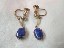 Vintage screw post Earrings 18K Gold with Lapis Lazuli stones