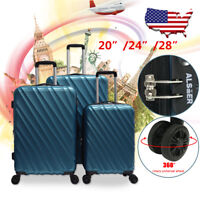 "ABS Spinner 3Pcs Luggage Travel Set Bag Suitcase TSA Lock Black 20"" 24"" 28"" Blue"
