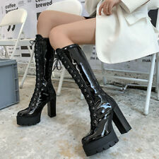 Women Patent Leather Platform  Lace Up Keen High Chunky Heels Boots Club Shoes