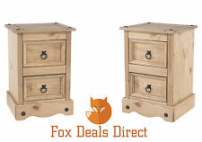 Bedside Cabinets Pair Mexican Premium Corona 2 Drawer Petite Waxed Bedroom Set