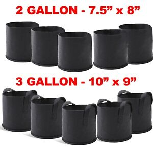 5 Packs Plant Pots Fabric Grow Bags 3 Gallons w/ Handles 2 Gallons W-out Handles