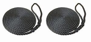 2 X 15 METRES OF 12MM BLACK SOFTLINE MOORING ROPES/LINES, BOATS, NARROWBOAT