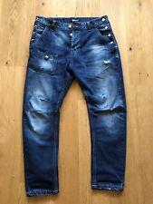 Pantaloni Jeans Uomo Strappato Vita Bassa Coloreblu Slim Fit Taglia W30