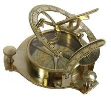 Sundial Compass Steampunk Gear Work Trinket Mechanical Solid Brass Decor Rustic
