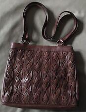 Etienne Aigner Vintage Handbag Shoulder Bag Brown Woven Leather