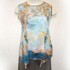 NEW NWT Cocoon House Monet Poplar 100% Silk Sleeveless Shell Blouse Small/Medium