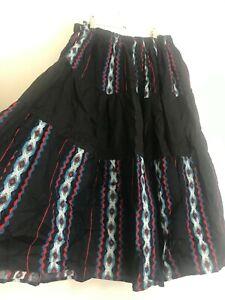 Vintage Boho Black Red Mexican Frida Khalo Style Maxi Skirt Size 14/16 Hippie