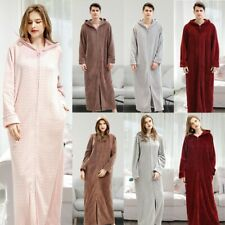 Luxury Bathrobe Adults Zipper Robe Nightgown Hooded Collar Long Style Housewear