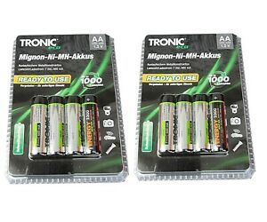 8 Stück TRONIC Akku Batterien Wiederaufladbar Accus Mignon-NiMH-AA 2300 mAh