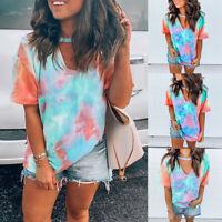❤️ Women Tie Dye Casual Blouse Tops Short Sleeve Summer Loose V Neck T-Shirt Tee