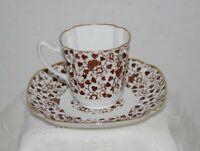Antique Copeland Spode Brown & White Floral Porcelain Demitasse Cup & Saucer
