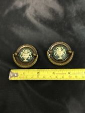 """Set Of 2 Brass Hand painted Vintage Drawer Pulls 1 1/2"""" Hole To Hole"""
