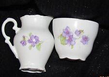 Schumann Arzberg Bavaria Germany Hand-Painted Violets Creamer and Sugar Set