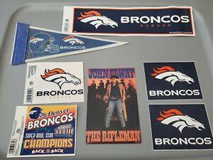 Lot Denver Broncos Collectibles John Elway Postcard Stickers Clings Mini Pennant
