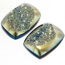 "1/2"" MATCHED PAIR TOP NOTCH TITANIUM DRUZY DRUSY 14x10MM 10.0CT cabochon"