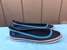 d6e758e4584 RARE EUC Tory Burch Flat US 7M Denim Canvas Blue Marine Ballerina Shoe A6