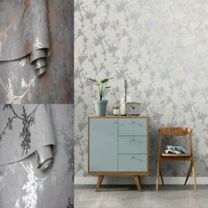 Holden Decor Chevril Shinny Floral Trail Textured Wallpaper 3 Colours