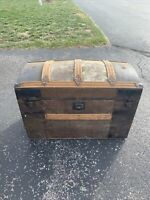 NICE Late 1800s ANTIQUE Humpback Camelback Steamer Trunk Wood / Metal Chest