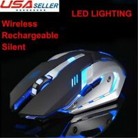 Wireless Mouse Gaming LED Laser USB Optical Game Rechargeable Silent Laptop PC