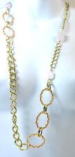 ELEGANT GOLD MULTI LAYER CHAIN NECKLACE MULTI STONE BRAND NEW UNIQUE (ST31)