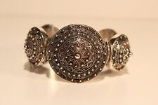 ANTIQUE POST MEDIEVAL RELIEF FILIGREE LADIES HAND MADE SOLID SILVER BRACELET