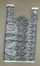 200 Zebra Print Plastic T Shirt Bags Withhandles 8 X 5 X 16 Gift Party Retail