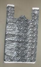 50 Zebra Print Plastic T Shirt Bags W Handles 8 X 5