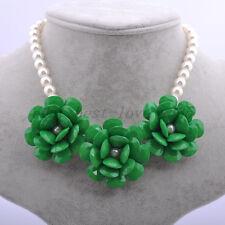 New Hot! Golden Chain Resin Beads Rose Flower Rhinestone Bib Statement Necklace